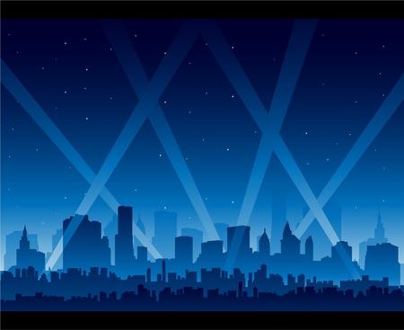 야간 영화 시사회에서 파티 도시