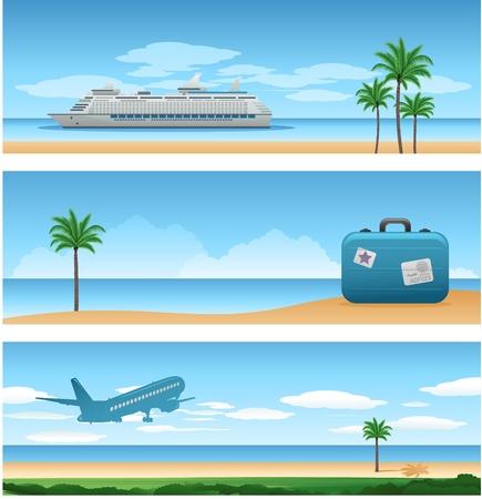夏のビーチの背景  イラスト・ベクター素材