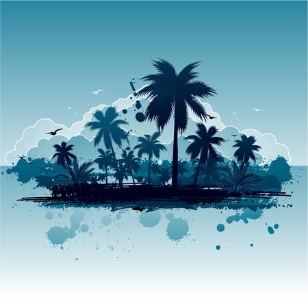 Grunge summer island Vector