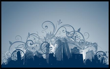 Grunge floral urban design