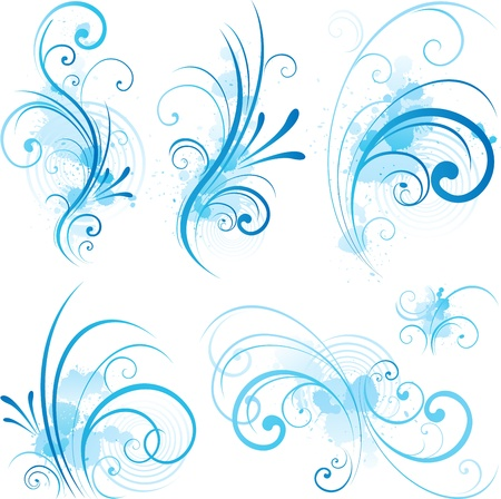 abstract flowers: blue swirling flourishes Illustration