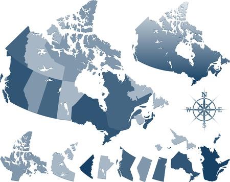Blauwe kaart van canada en de provincies Vector Illustratie
