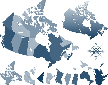quebec: Blue canada map and provinces Illustration