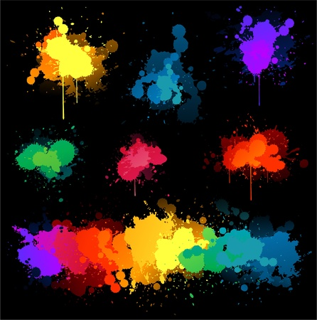 Paint splat on black background Stock Vector - 8626806