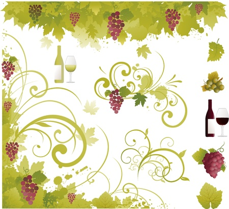 Wine floral ornament Vector