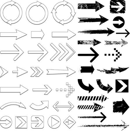 flechas curvas: conjunto de flechas Vectores