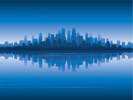 reflectie water: Stad reflectie op het water Stock Illustratie