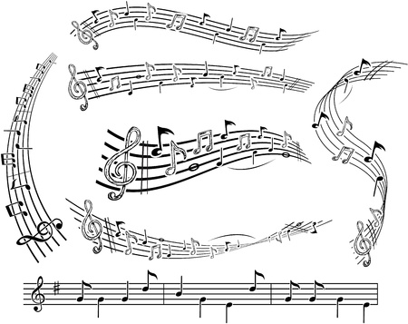 Music notes on slave Vettoriali