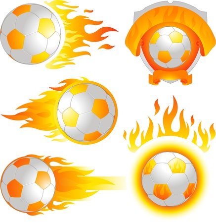 Fire soccer ball logo Vector