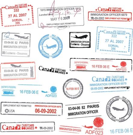 여권 스탬프 일러스트