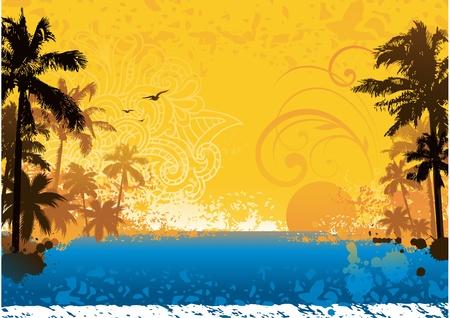 playas tropicales: Grunge puesta de sol de verano
