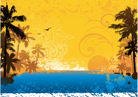 surf silhouettes: Grunge tramonto estivo