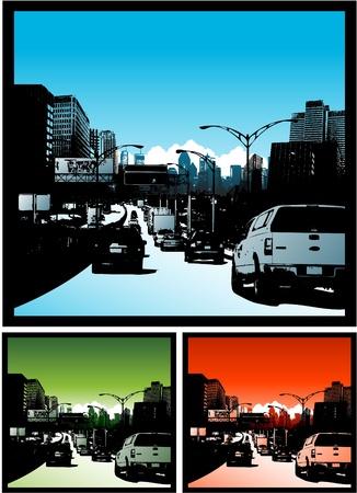 Traffic jam illustration Stok Fotoğraf - 8626861