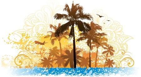 Grunge zomer palmboom