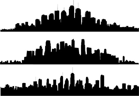silhouette of a city: city skylines Illustration