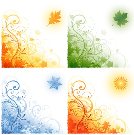 Quatre saisons arrière-plan Banque d'images - 8666911