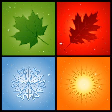 four seasons elements Vectores