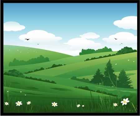 campi�a: Ilustraci�n de paisaje de la naturaleza