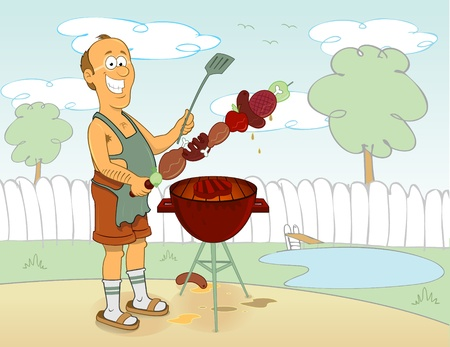 barbecue cook Vector