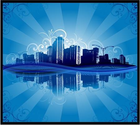 City reflection Vector