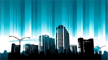 blue cityscape design Vector