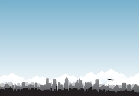 new york skyline: cityscape airport background Illustration