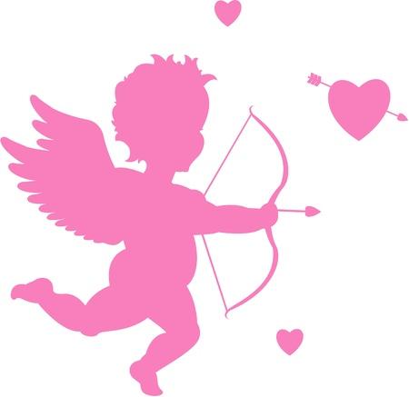 Cupid silhouet Vector Illustratie