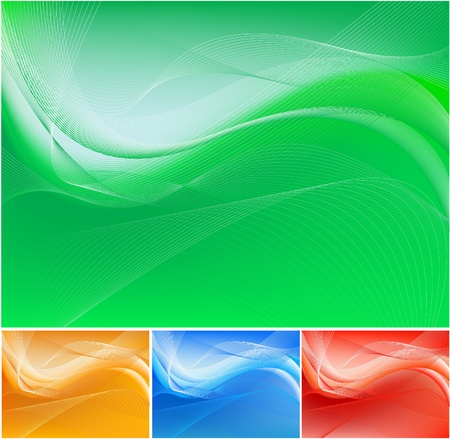 smooth background: green abstract waving background Illustration