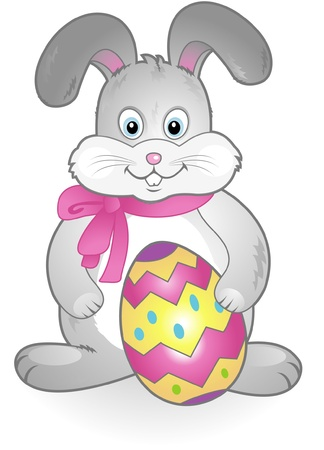 happy easter bunny cartoon Vector