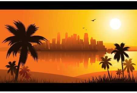 summer sunset city Stock Vector - 8667360