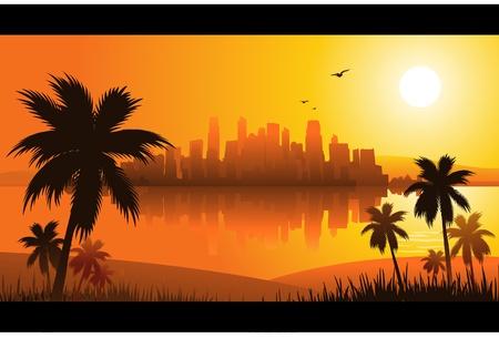 zomer zons ondergang stad Vector Illustratie