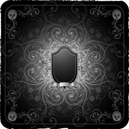 grunge floral gothic background 矢量图像
