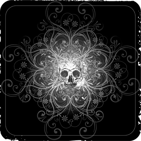 grunge skull ornaments Stock Vector - 8667371