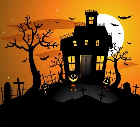 boom halloween: Halloween achtervolgd huis achtergrond Stock Illustratie