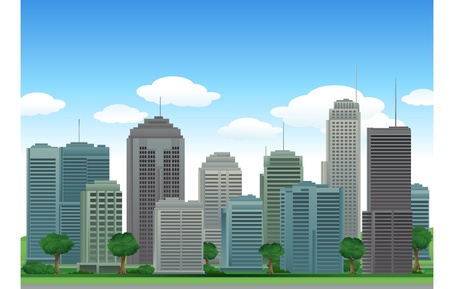 メトロポリス: 自然の市建物  イラスト・ベクター素材