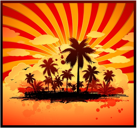 caribbean party: Isla tropical Vectores