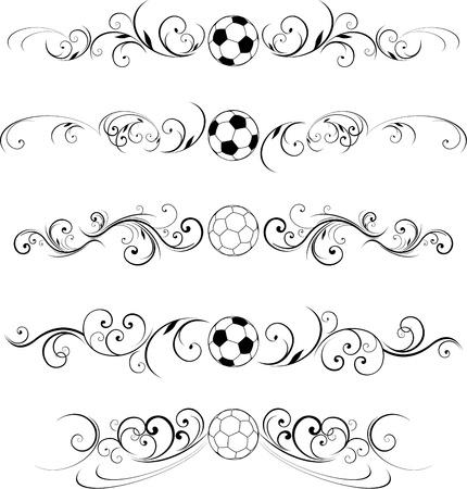 soccer ball ornate design elements Illustration