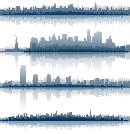new york skyline: new york city reflection on water