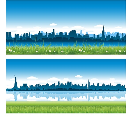 ニューヨーク市の背景  イラスト・ベクター素材