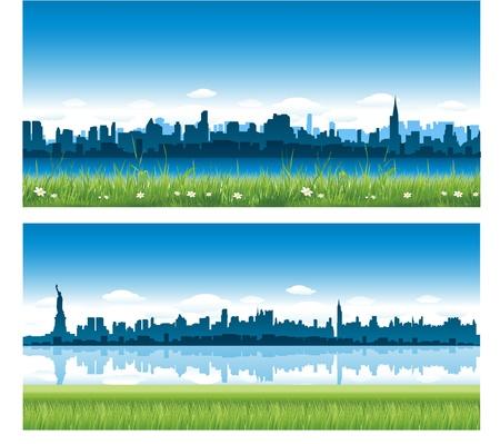 new day: sfondo della citt� di New york