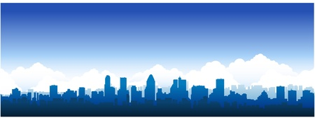 city panorama: Montreal city silhouette Illustration