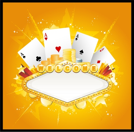 shiny background: Casino gambling sign Illustration