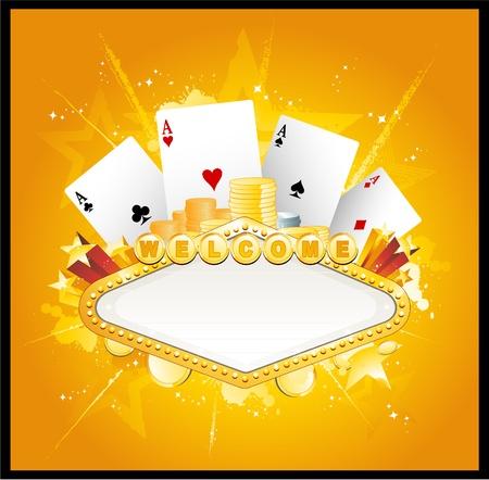 Casino gambling sign Ilustração