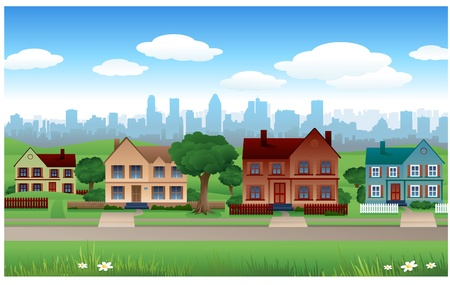 estate: suburb real estate background Illustration