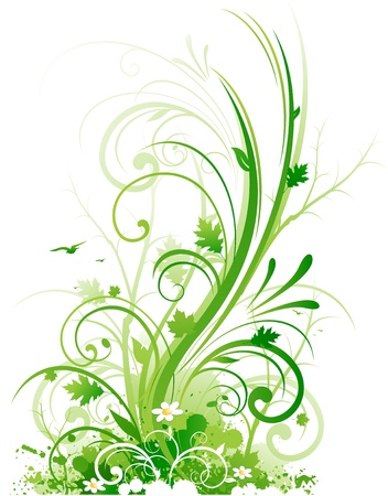 background pattern: Spring swirls floral ornament