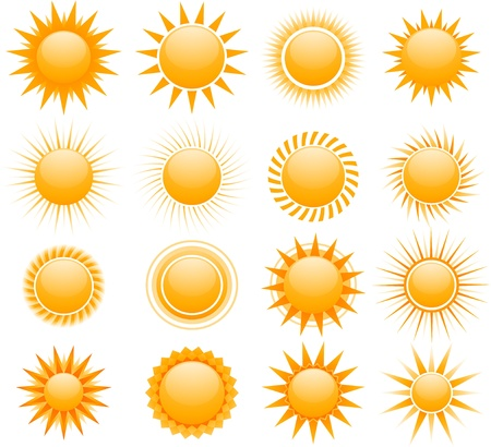 sun ray: sun icons Illustration
