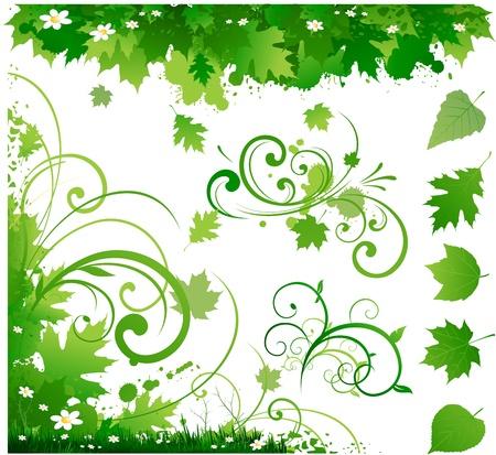 green environment: Spring floral decoration ornament Illustration