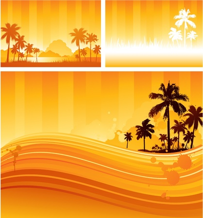 beach sunset: Tropical sunny background Illustration
