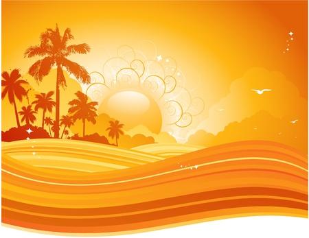 熱帯の背景  イラスト・ベクター素材