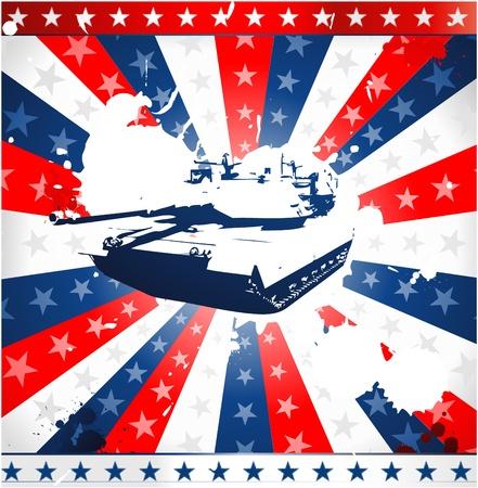 patriotic army tank Vector